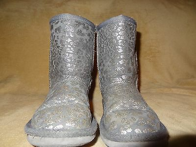 THE CHILDREN'S PLACE Girls Winter Silver Sparkle Faux Fur Lined Boots ~ Size 13