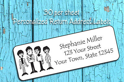 Personalized BEATLES Cartoon Return Address Labels, 30 labels per sheet
