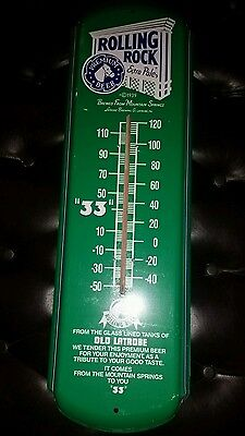 """Rolling Rock - Vintage Large Metal Thermometer - 28"""" x 9"""" - Excellent Condition"""
