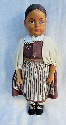 """Vintage 10"""" Jointed Brienz Swiss Carved Wood Doll All Original EXC!"""
