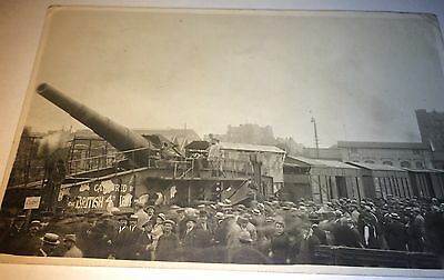 Antique WWI Railroad Gun Captured By British 4th Army Real Photo Postcard! RPPC!