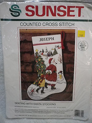 Dimensions Sunset counted cross stitch kit SKATING WITH SANTA STOCKING Christmas