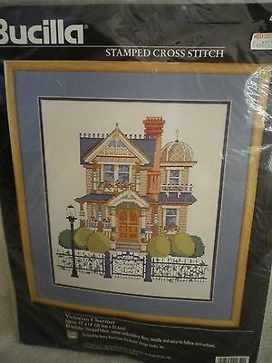 1997 Bucilla stamped cross stitch VICTORIAN CHARMER 41654 kit home sweet home