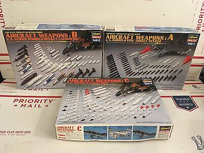 Lot of 3 Vintage 1987 Hasegawa 1:48 Aircraft Weapons A B C Model Sets