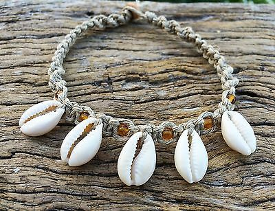 Hand Made Hemp Macrame Anklet with Cowrie Shells With Amber Glass Beads