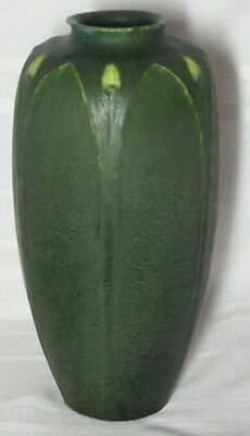 Grueby Pottery, Tall Carved Leaves And Buds, Artist Signed, Ruth Erickson~~~