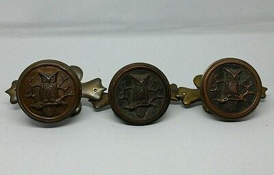 Antique RARE Set of 3 Figural Owl Door Knobs Brass with Bronze / Copper Center