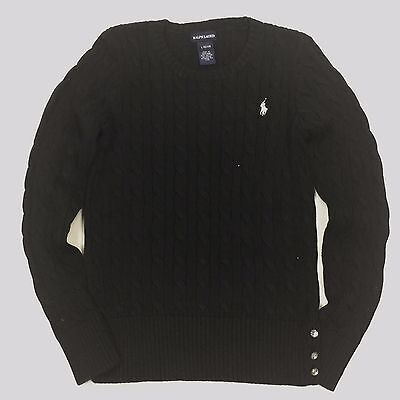 RALPH LAUREN Polo Girls Round Neck Black Sweater Cable Ruffle L (12-14 Ages)