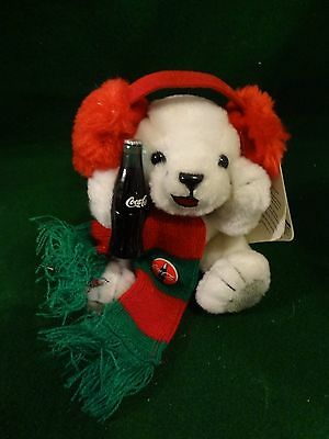 "Musical Holiday Coca Cola mini polar bear cubs plush - Vintage 1999 - 5"" High"