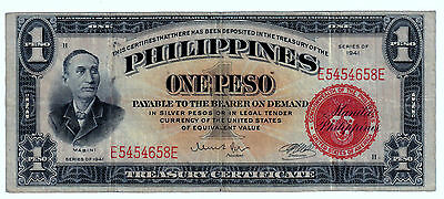 1941 (ONE PESO )  (SILVER CERTIFICATE) RED (PHILIPPINES- US) --scarce----