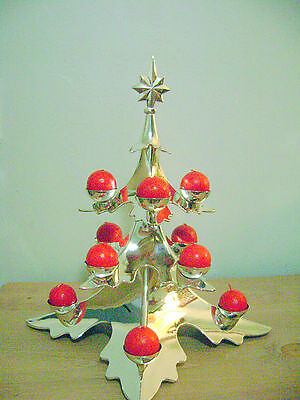 Godinger Silver Plated Christmas Tree Candle Holder Potter Barn #7990