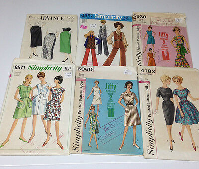 Lot 6 VINTAGE sewing patterns 1950s & 1960s Simplicity & Advance