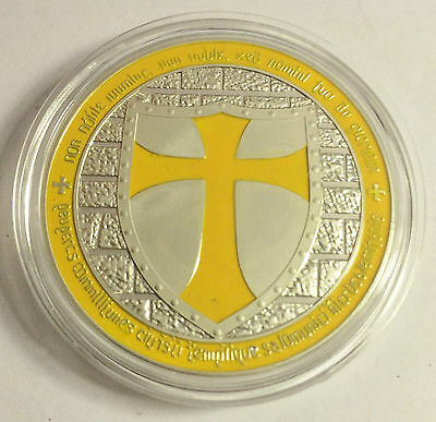 """1 OZ 2014 """"YELLOW"""" TEMPLAR KNIGHT CROSS COIN Finished in 999 Fine Silver"""