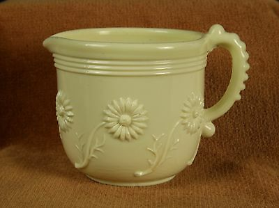 Sowerby Queens Ivory Uranium Glass Miniature Jug Impressed Mark Daisy Decoration