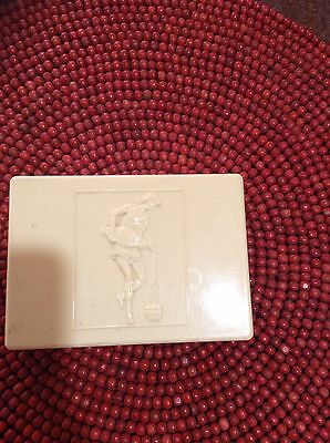 Collectable Vintage Cream Bakelite Trinket/Playing Cards Box Art Deco