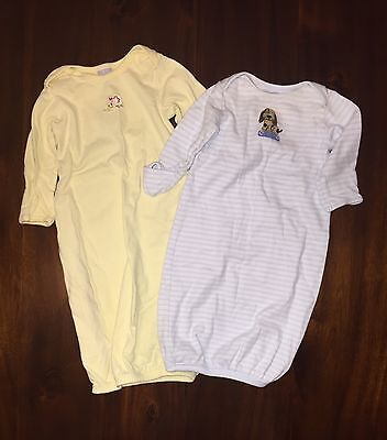 Lot of 2 Baby Boy / Girl Carter's Nightgown Sleepers 0-3 Months Blue Yellow