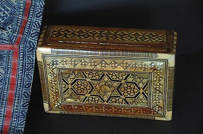 Old Middle Eastern Carved Wooden Inlaid Box …beautiful for the coffee table