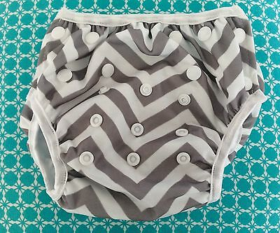 NEW baby swimming nappy - chevron print - up to 3 years - REUSABLE & ADJUSTABLE