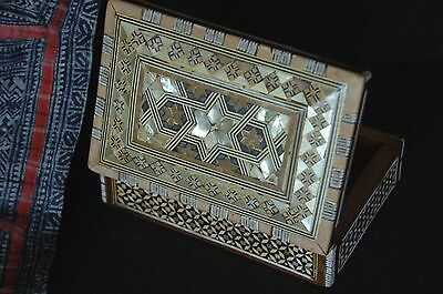 Old Middle Eastern Carved Wooden Inlaid Box …great collection piece