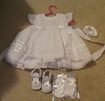 Baby Girl Christening Baptism Complete Outfit Size 6-12 Months New