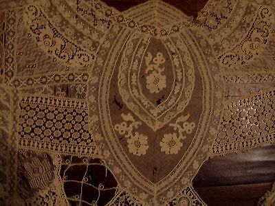 Rare Antique Brussels Lace Large Remnant Trim French Bebe Doll Clothes~Agewear
