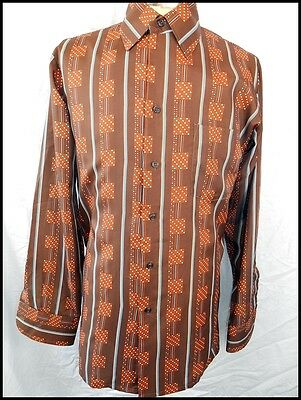 Vintage 70s Brown Patterned Polyester Gloweave Long Sleeve Disco Dress Shirt M