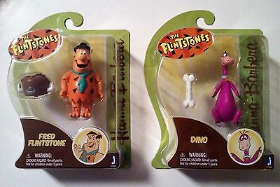 "Hanna-Barbera ""The Flinstones"" Fred Flinstone & Dino 3"" Figures New!"