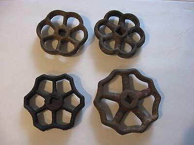 4 Vintage Faucet Valve Handles Steampunk Industrial Art Cast Iron Barn Find
