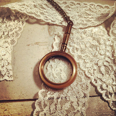 Vintage Style Nautical Magnifying Glass Pendant Necklace Antique Brass, Chain