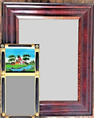 "c1840 large Empire frame -painting, mirror, birdseye, flame, rswd, ebonized,46""t"