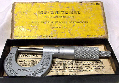 vintage NATIONAL # 102 Micrometer 0 to 1 inch Measuring Metalworking Caliper