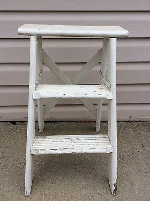 """Vintage Chic Shabby Farm House Wood Wooden 22"""" High Two-Step Ladder Stool White"""