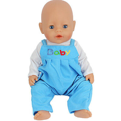 blue set jumpsuit clothes Wearfor 43cm Baby Born zapf (only sell clothes )