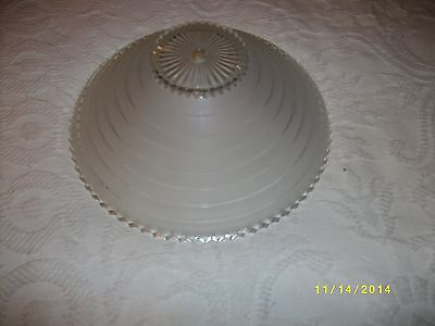Antique ceiling light fixture glass shade clear stepped pattern  center hole