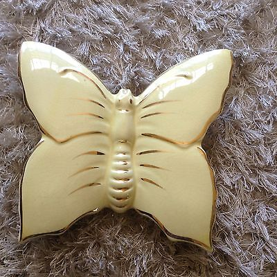 Vintage Collectable Light Yellow Butterfly Wall Pocket Vase Marked Warranted 22k