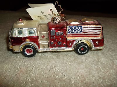Christopher Radko Fire Truck Christmas Tree Ornament Glory To The Rescue 74C