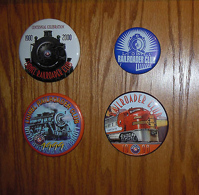 Lot Of 4 Lionel Buttons / Pins - Railroader Club 1998, 1999, 2000 + - All New
