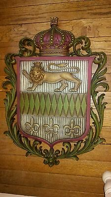 "Vintage Large Burwood 28"" x 20"" French Lily & Lion Shield Hanging Wall Plaque"