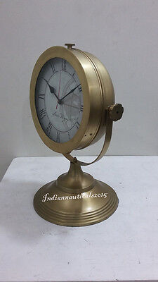 Classical Design Fully Brass Home & Office Decor Table Clock Vintage Gift Item