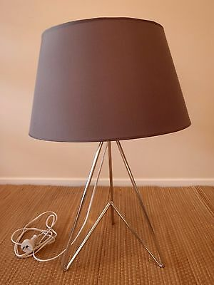 2 Table/bedside lamps/lights - Chrome steel pyramid base  – includes shades!!