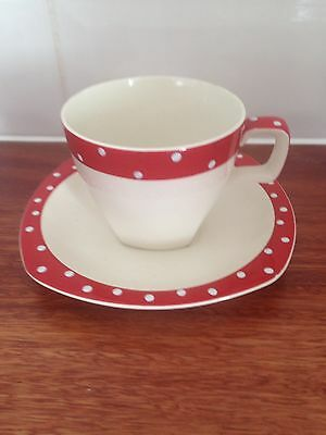Retro Vintage Polka Dot/Domino Style Craft Midwinter  Cup And Saucer #1 1950's