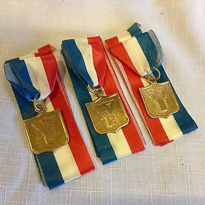 """Vintage Lot of 3 Gold """"Y"""" Medals/Ribbons for Swim Meet 6 yrs & Under 1974"""
