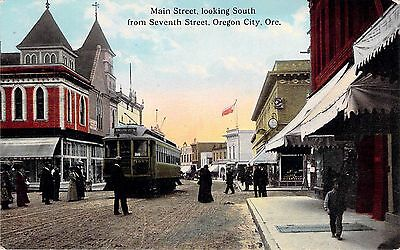 c1910 Oregon City, OR; Main Street looking south from 7th street. Streetcar