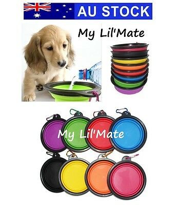 Pet Dog Cat Portable Silicone Collapsible Travel Feeding Bowl Water Dish + Clip