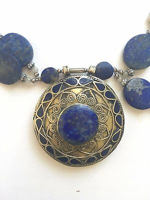 Lapis Blue Gemstone Mexican Necklace - Sterling Silver, Circular Giant Pendant