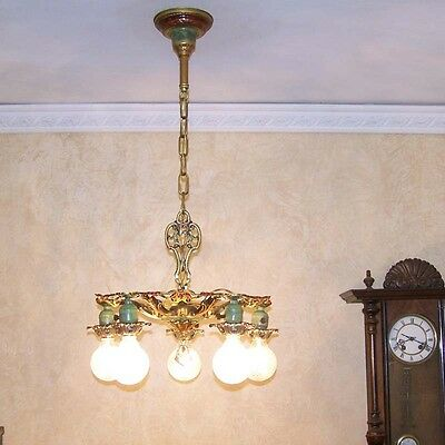 979 Vintage 20s 30s Ceiling Light fixture art nouveau polychrome chandelier