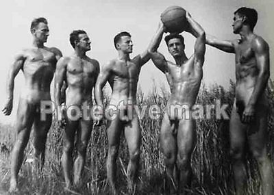 Group of nude men 1930 NUDE Erotic old PHOTO REPRINT