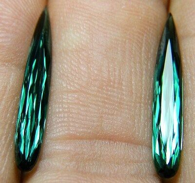 Natural blue-green Tourmaline,4.34ct,faceted drop, 4x23mm,pear,Brazil,556