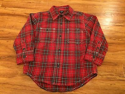 Baby Gap Toddler Boy Long Sleeve Button Down shirt size 2 Years 2T Red Plaid