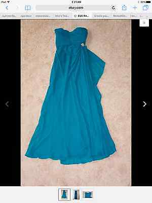 Euc Ralph Lauren Woman's Strapless Gown Prom Dress Rouched Chiffon Teal Size 6